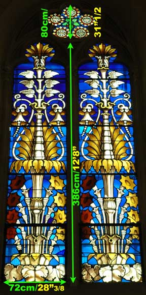 Stained glass windows with floral designs -8