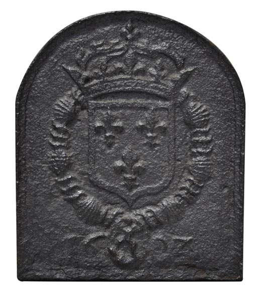 Antique cast iron fireback with the coat of arms of Louis XI and Louis XII-0