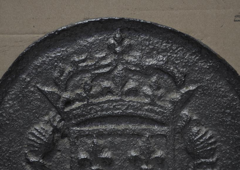 Antique cast iron fireback with the coat of arms of Louis XI and Louis XII-1