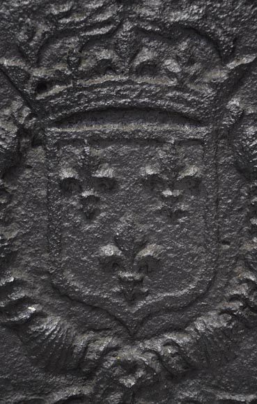 Antique cast iron fireback with the coat of arms of Louis XI and Louis XII-2