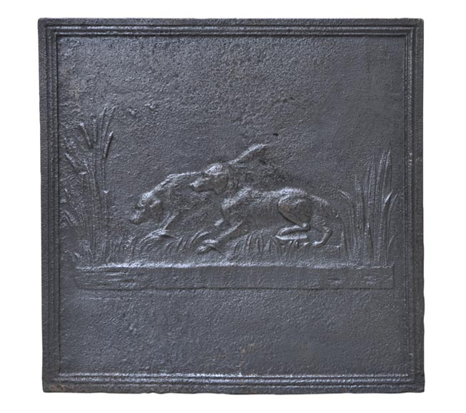 Cast iron fireback with hunting dogs - Reference 10324