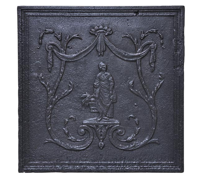 Antique cast iron fireback with peasant woman decor-0
