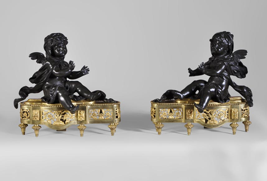 """Putti by the fire"", pair of antique andirons, gilded bronze and brown patina bronze - Reference 10345"