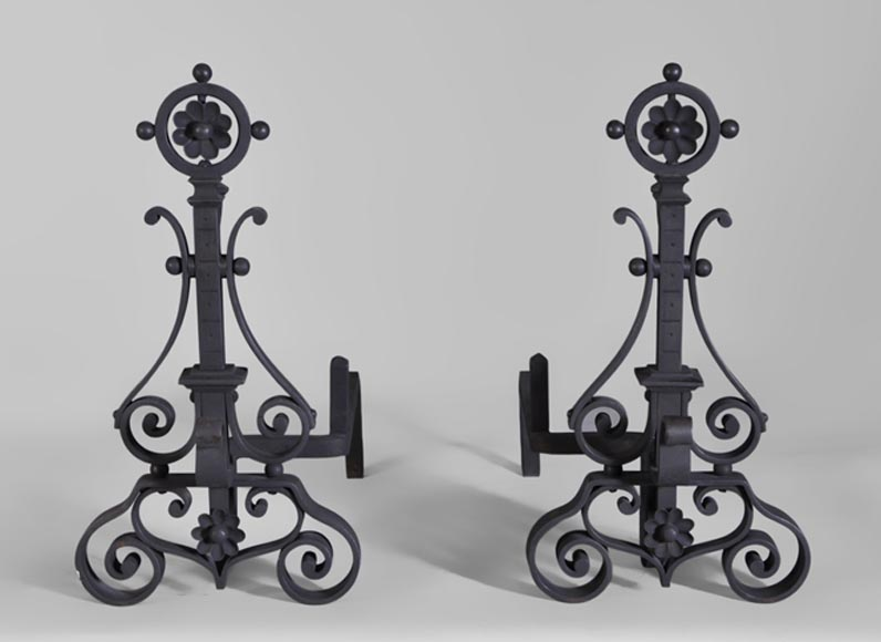 Pair of cast iron andirons-0