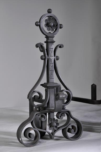 Pair of cast iron andirons-1