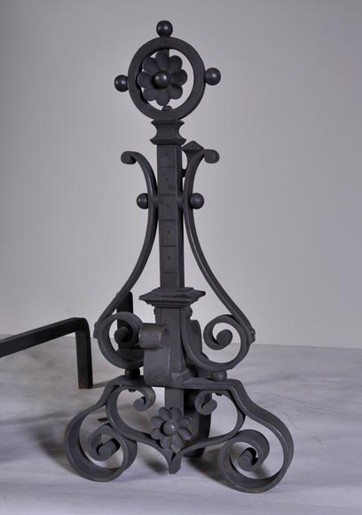 Pair of cast iron andirons-3