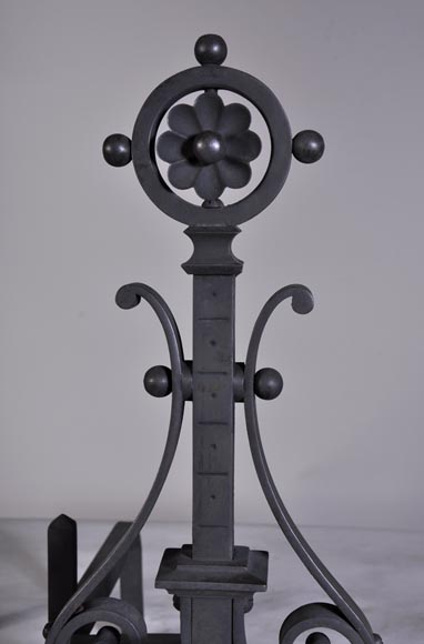 Pair of cast iron andirons-4