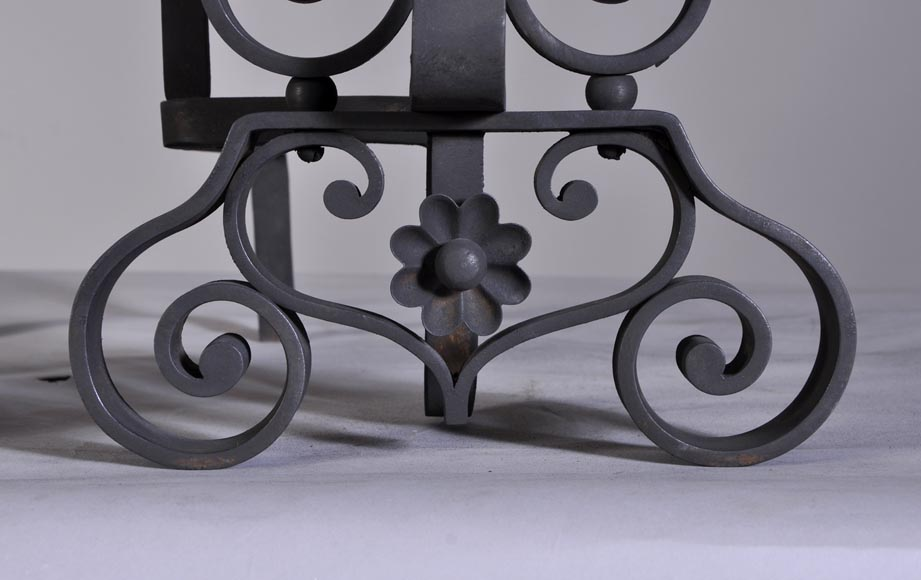 Pair of cast iron andirons-5