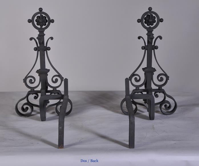 Pair of cast iron andirons-6