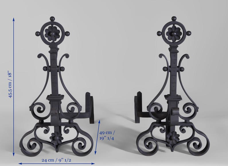 Pair of cast iron andirons-7