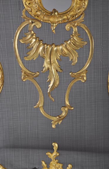 Antique Louis XV style gilt-bronze fire screen, 19th century, foliages and flowers decor-1
