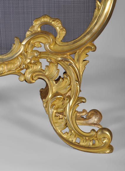 Antique Louis XV style gilt-bronze fire screen, 19th century, foliages and flowers decor-4