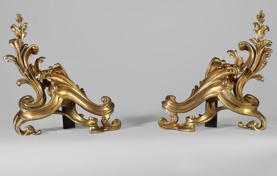 Pair of gilt bronze Louis XV style andirons, asymetrical foliages decor - Reference 10355