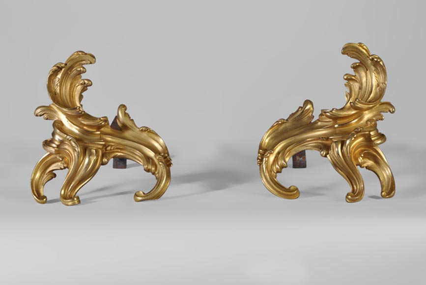 Nice pair of Louis XV style gilt bronze andirons, 19th century - Reference 10356
