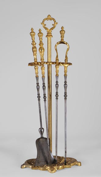 Antique Louis XV style fireplace tools set, gilt bronze and steel  - Reference 10364