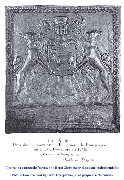 Important antique fireback with Jean Bouhier de Savigny coat of arms, first half of the 18th century-10
