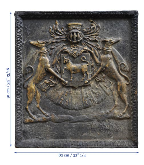 Important antique fireback with Jean Bouhier de Savigny coat of arms, first half of the 18th century-11