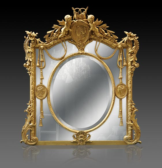 Magnificent antique Napoleon III mirror with partitions, decor of putti and women profils in medallions-0