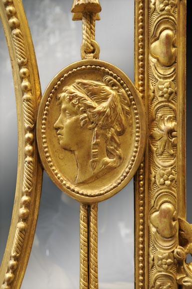 Magnificent antique Napoleon III mirror with partitions, decor of putti and women profils in medallions-6