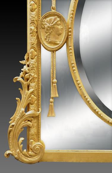Magnificent antique Napoleon III mirror with partitions, decor of putti and women profils in medallions-7