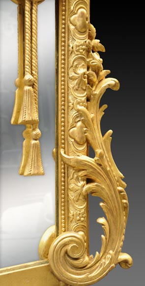 Magnificent antique Napoleon III mirror with partitions, decor of putti and women profils in medallions-9