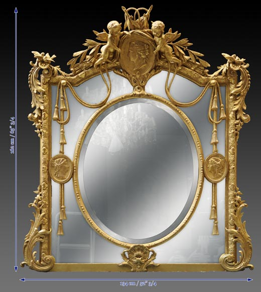 Magnificent antique Napoleon III mirror with partitions, decor of putti and women profils in medallions-11