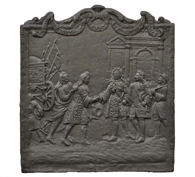 Antique cast iron fireback depicting the meeting between the King of France and of Spain-0