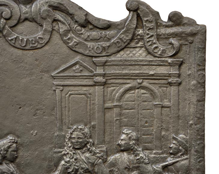 Antique cast iron fireback depicting the meeting between the King of France and of Spain-6