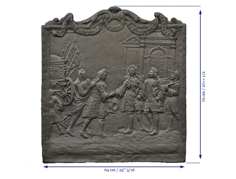 Antique cast iron fireback depicting the meeting between the King of France and of Spain-8