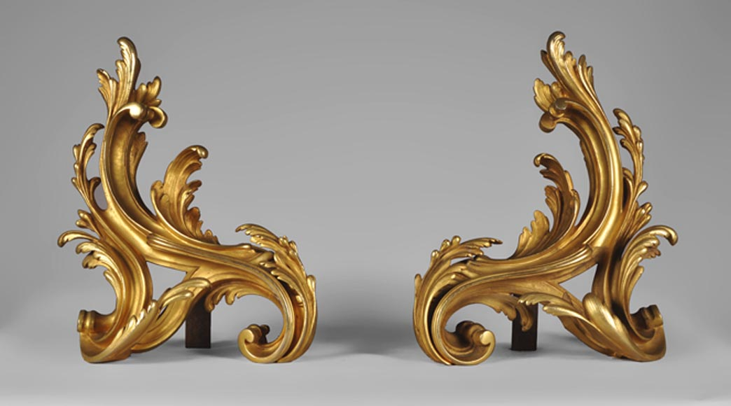 Louis XV style pair of gilt bronze firedogs with foliages - Reference 10378