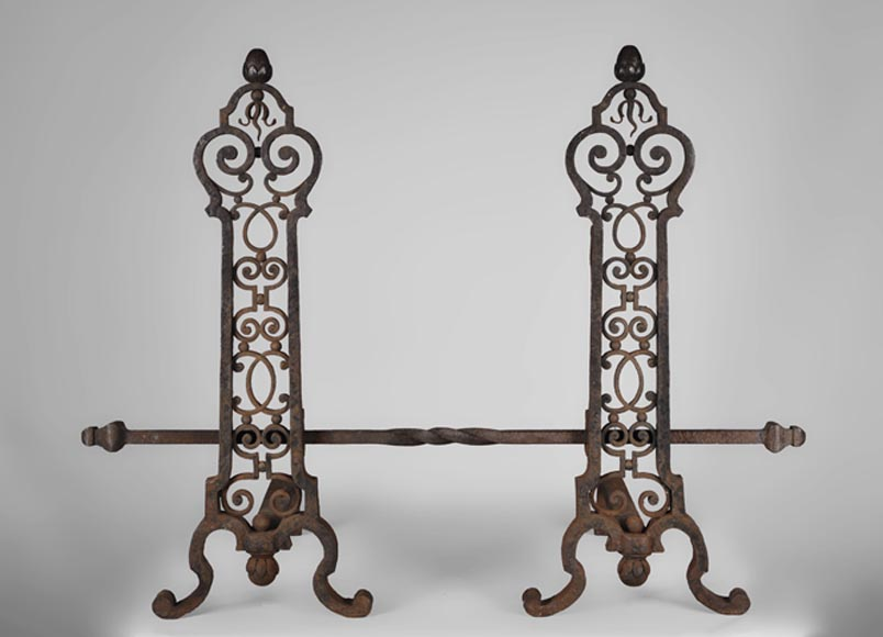 Important pair of wrought iron andirons, 19th century-0