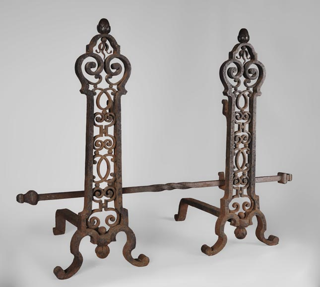 Important pair of wrought iron andirons, 19th century-1