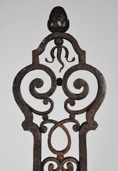 Important pair of wrought iron andirons, 19th century-2