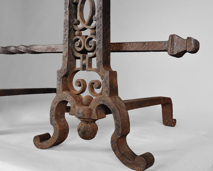 Important pair of wrought iron andirons, 19th century-3
