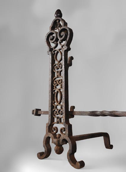 Important pair of wrought iron andirons, 19th century-4