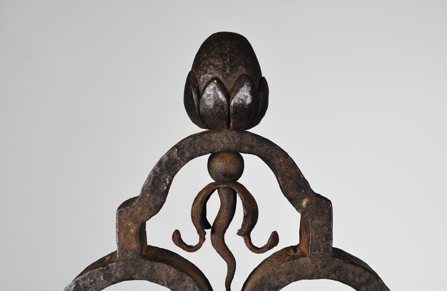 Important pair of wrought iron andirons, 19th century-6