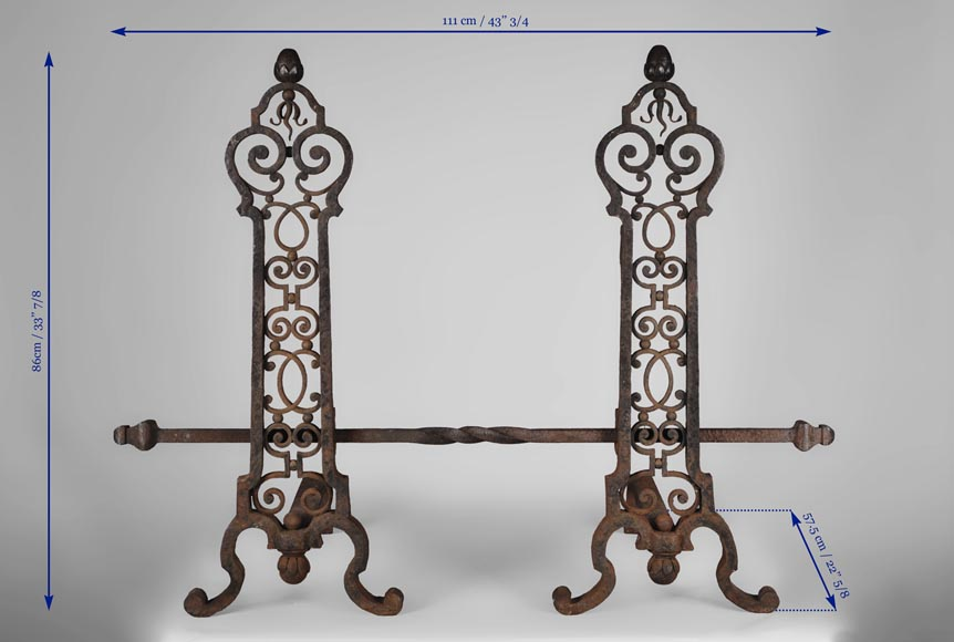 Important pair of wrought iron andirons, 19th century-8