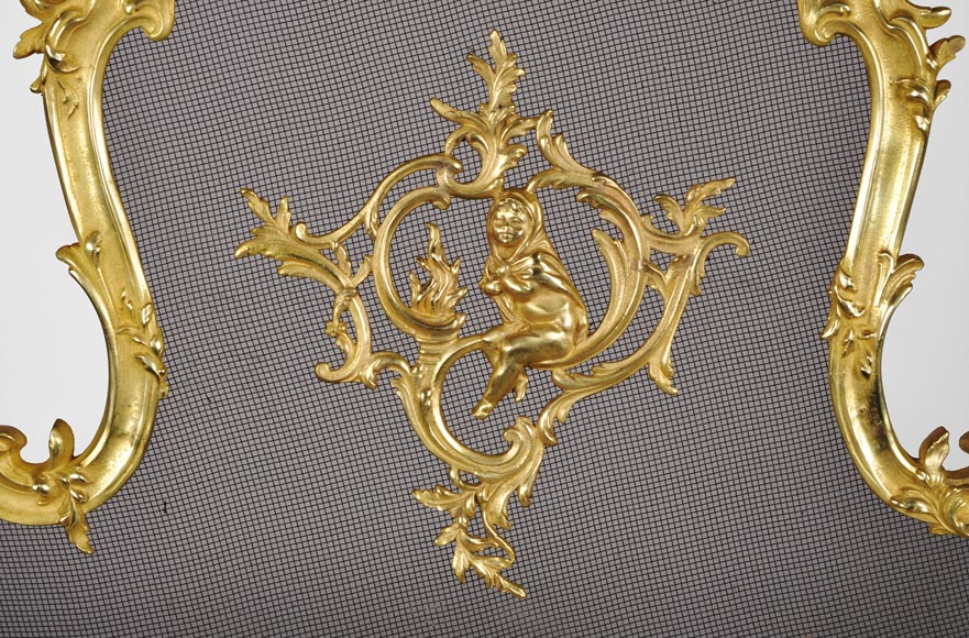 Antique Louis XV style gilt bronze fire screen with a Winter Allegory-1