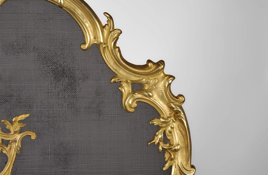 Antique Louis XV style gilt bronze fire screen with a Winter Allegory-6