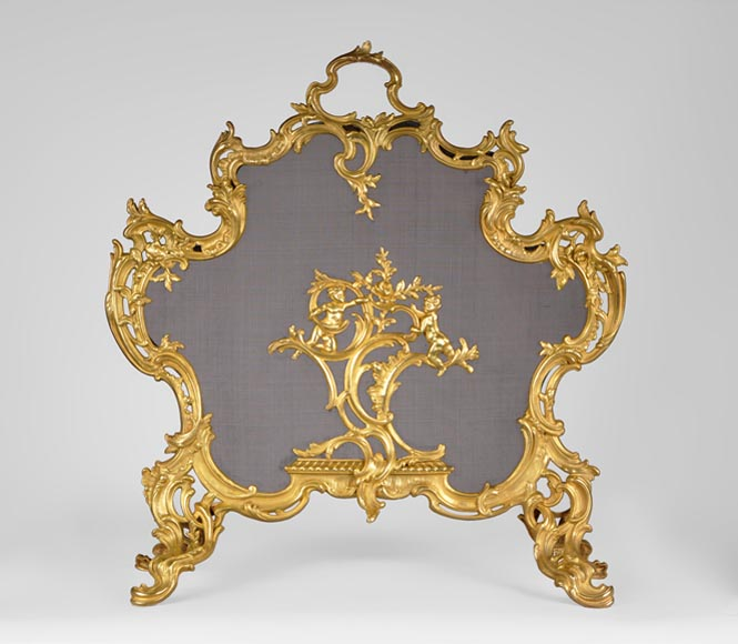 Antique Louis XV style gilt bronze fire screen with playing children, 19th century-0
