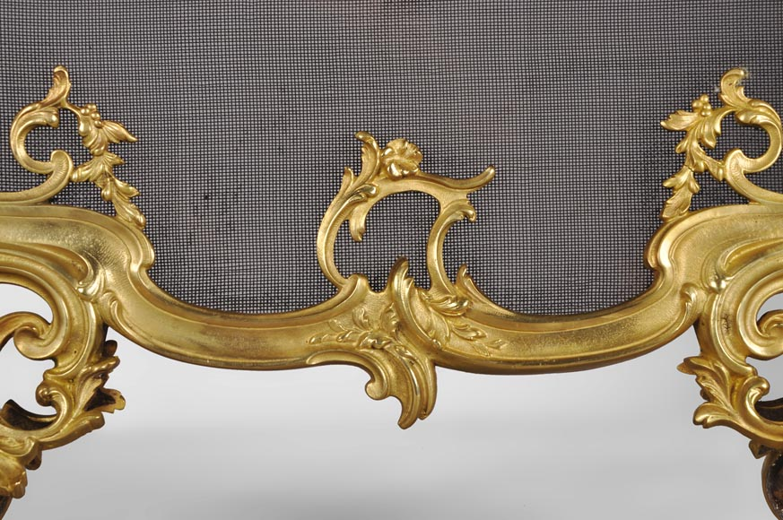 Antique Louis XV style gilt bronze fire screen with a Winter Allegory-3
