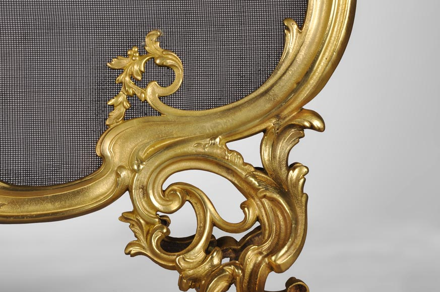 Antique Louis XV style gilt bronze fire screen with a Winter Allegory-5