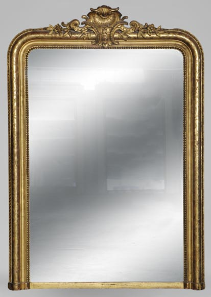 Antique Louis-Philippe style overmantel mirror with engraved and gilt frame - Reference 10398
