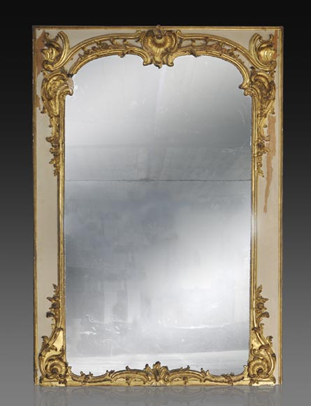 Important antique Louis XV period overmantel mirror in carved and gilt wood - Reference 10400