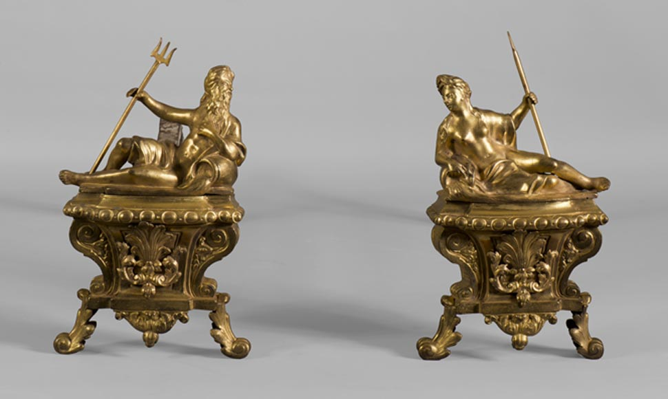 """Rivers"", antique gilt bronze pair of andirons - Reference 10404"