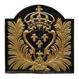 Large antique cast iron fireback with France coat of arms, gilded with gold leaf