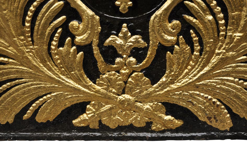 Large antique cast iron fireback with France coat of arms, gilded with gold leaf-4