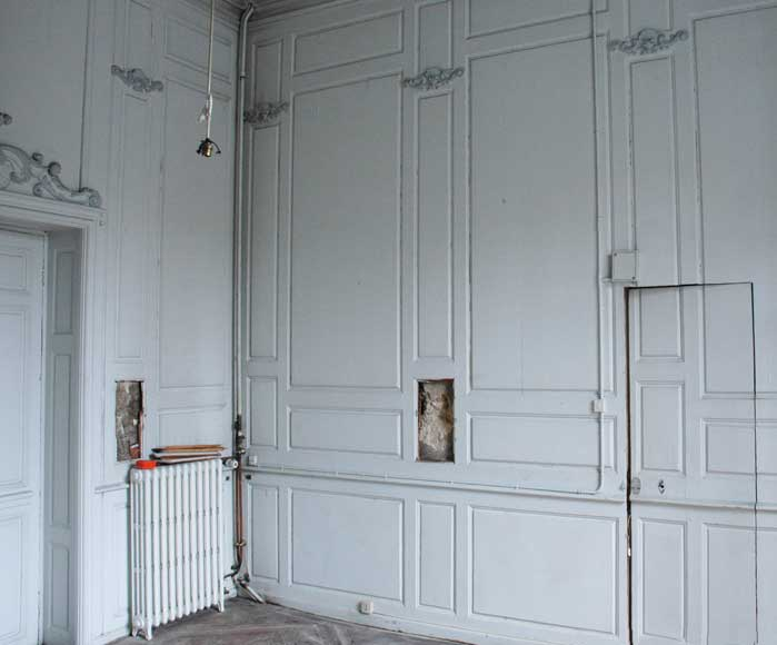 Paneled room and rare parquet flooring from the 18th century-5
