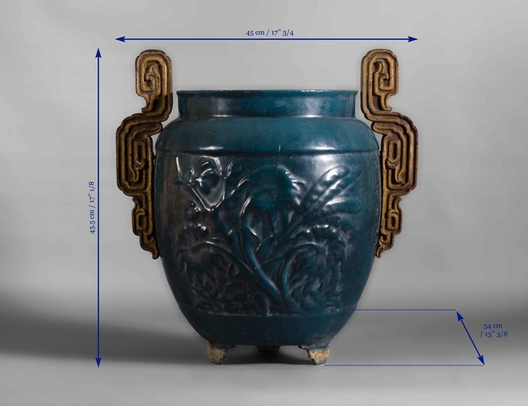 Beautiful antique garden vase in blue enameled cast iron, 19th century-4