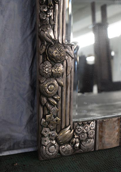 Rare Art Deco Mirror Silvered Bronze And Beveled Mirror